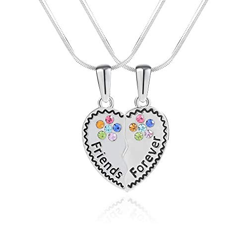 """Best Friends Necklace for 2, BFF Teen Girls Gifts Silver Friendship Necklace for 2 Set, Crystal Heart Broken Charm Engraved Letters Necklace, Chain 18"""""""