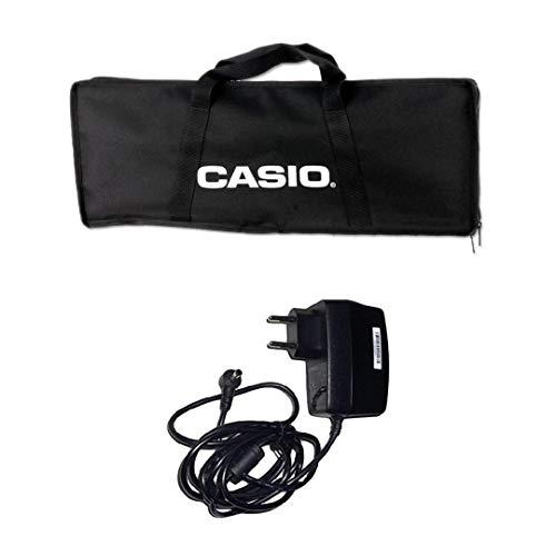 Casio SA BAG - Borsa custodia per Trasporto Tastiera (per Tastiere Casio: SA46-47 SA76-77) + Alimentatore Casio AD-E95100LG AC Adaptor, Nero
