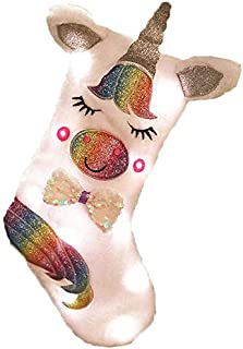 5 Star Fun Unicorn Christmas Stocking with LED Lights Included, 17