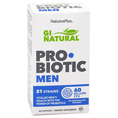 NaturesPlus GI Natural Probiotic Capsules, Men - 30 Capsules - 21 Live Probiotic Strains & Prebiotics - Digestive & Immune Support - Gluten-Free - 30 Servings