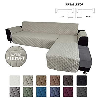 Easy-Going Sofa Slipcover L Shape Sofa Cover Sectional Couch Cover Chaise Lounge Slip Cover Reversible Sofa Cover Furniture Protector Cover for Pets Kids Children Dog Cat