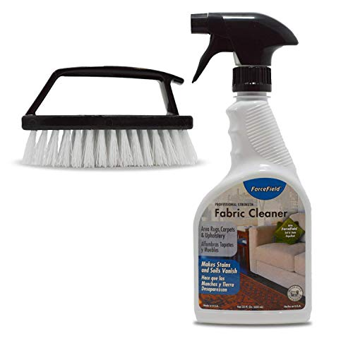ForceField Fabric cleaner Kit: 22 Oz Professional Strength Force Field Carpet And Upholstery Cleaning Spray, Handheld Scrub Brush With Handle Detailing, Works For Furniture, Clothes And More.