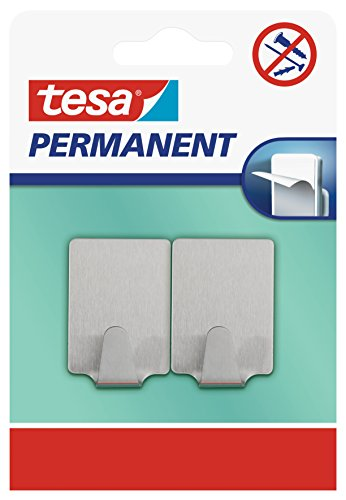 Tesa 66613-00000-00 2 x Ganci Permanenti Rettangolari, L, Metallo