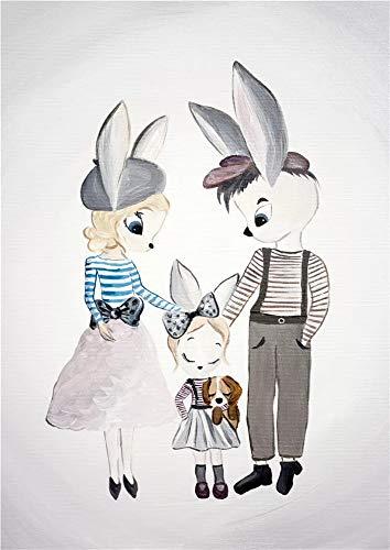 JHGJHK Cálido y Dulce decoración del hogar Conejo Familia Pintura al óleo niña niños Dormitorio decoración Pintura