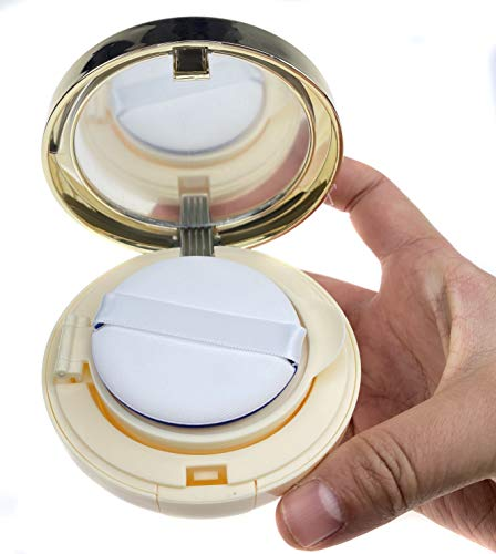 ASTRQLE 15ml 0.5oz Empty Luxurious Golden Portable Make-up Powder Container Air Cushion Puff Case Holder with Powder Puff and Mirror Refillable Make Up Founda