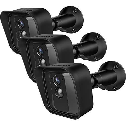 Funda Piel Protectora de Silicona y Soporte de Montaje de Pared Ajustable 360 Grados Compatible con Cámaras de Seguridad Interior/Exterior Blink XT, 3 Juegos (Negro)