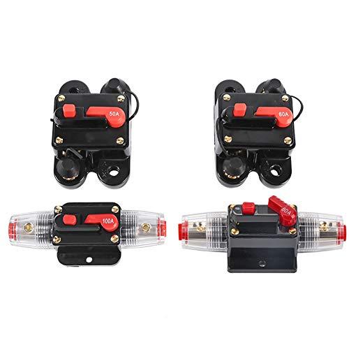 Fydun Vehículo Amplificador Fusibles 50Amp-100Amp Disyuntor Restablecer Portafusibles Portafusibles para coche y barco Impermeable 12-24V Nuevo accesorio de repuesto
