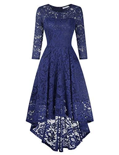 KOJOOIN Damen Brautjungfernkleider für Hochzeit Cocktail Abendkleider Unregelmässiges Kurzespitzenkleid (VerpackungEHRWEG),XL