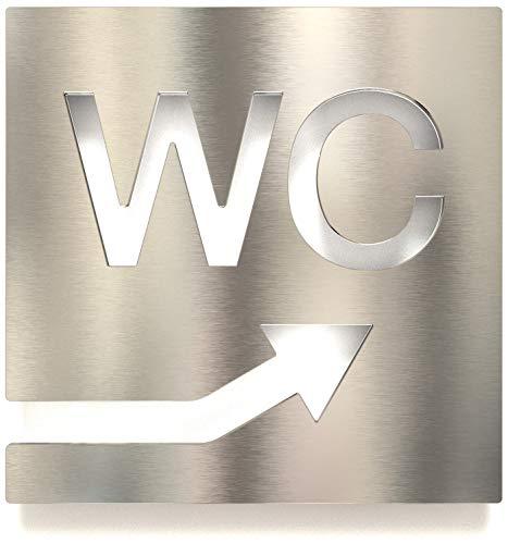 Cartel de acero inoxidable para inodoro – autoadhesivo y fácil de limpiar – Diseño de placa con flecha – W.06.E
