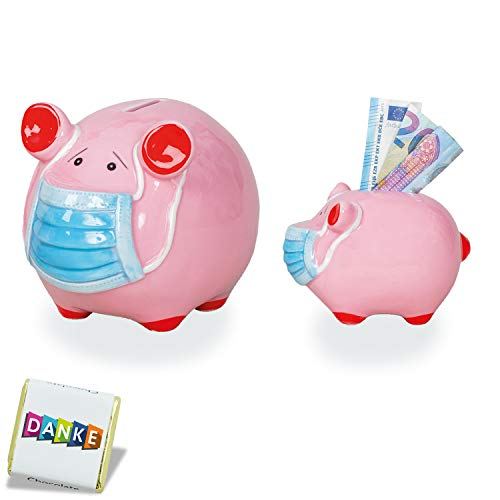 2X Keramik Sparschwein Groß und Klein mit Mundschutz | Münze Sparbüchse | Geld sparen Bargeld | Geschenk Münzbank für Kinder Mädchen Jungen | 2er Set (Ohne Text)