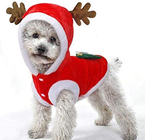DDPP Hundeweihnachtskostüm, Warmer Flanell Weihnachtsmann Haustier-Mantel Hoodie, Hundeausstattung Kleidung für Groß Kleine Hunde,XL