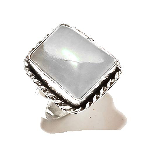 Shivi Gray Amazonite! Ring Size 8 US, Sterling Silver Plated, Handmade! Jewelry from