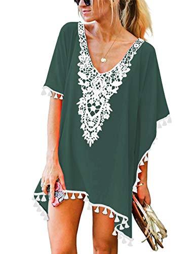 CPOKRTWSO Women's Crochet Chiffon Tassel Bohemian Beach Dress Swimwear Cover-up Blackish Green S/M