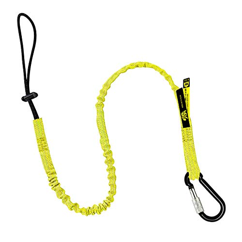 BearTOOL Tool Lanyard with Buckle Strap - Clip Bungee Cord - Heavy Duty Screw Locking Carabiner - Fall Protection and Safety - Adjustable Loop End - Tough Tether - Construction - 1PK (Yellow 0921YS)