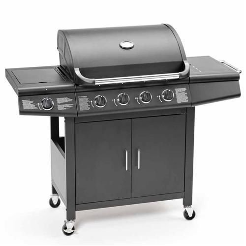 CosmoGrill Deluxe 4+1 Gas Burner Grill BBQ Barbecue incl. Side Burner - Black 61 x 42cm 93411