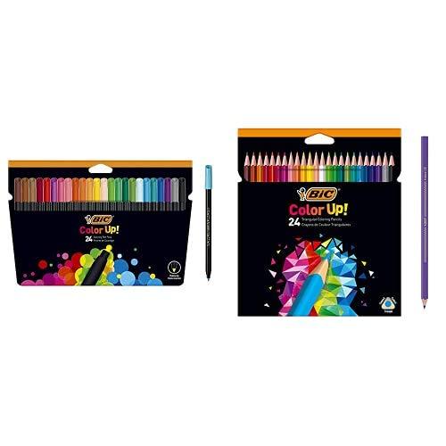 BIC Color Up rotuladores de colorear, pack de 24 + BIC Color Up lápices de colores surtidos, blíster de 24 unidades