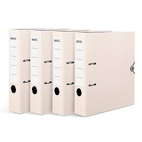 Amazon Brand – Eono Archivador de Palanca Plástico A4 – con lomo de 70 mm, bolsillo interior para papeles sueltos y cierre elástico, blanco, paquete de 4