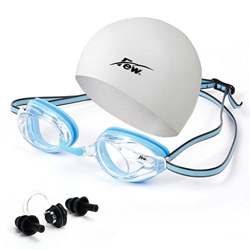 William 337 Professionale Donna Uomo Kid Impermeabile Anti-Fog Protezione UV Occhialini da Nuoto PRO HD nasale congestione Tappi per Le Orecchie Swim Eyewear (Colore : C)
