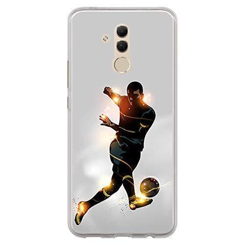 BJJ SHOP Funda Transparente para [ Huawei Mate 20 Lite ], Carcasa de Silicona Flexible TPU, diseño: Futbolista chutando la Pelota, luz de energia