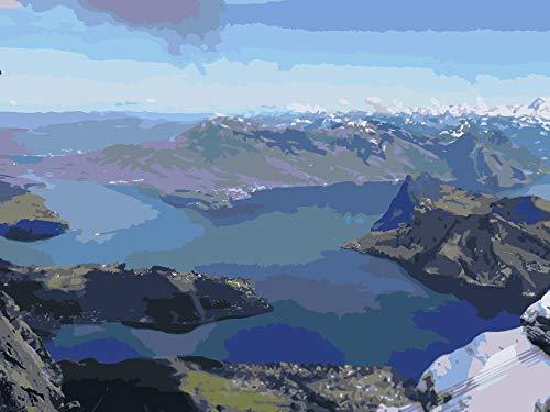 Lienzo De Bricolaje Regalo De Pintura Al Óleo Pico Azul del Yangtze Pintura Al Óleo, Dibujo, Pinturas Acrílicas, Lienzo,con 3 Pinceles,16 X 20 Pulgadas (Sin Marco)