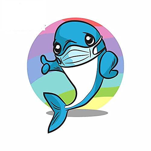 A/X 13cmx10.7cm para Lindo delfín con mascarilla calcomanía Parabrisas Windows Pegatinas de Coche