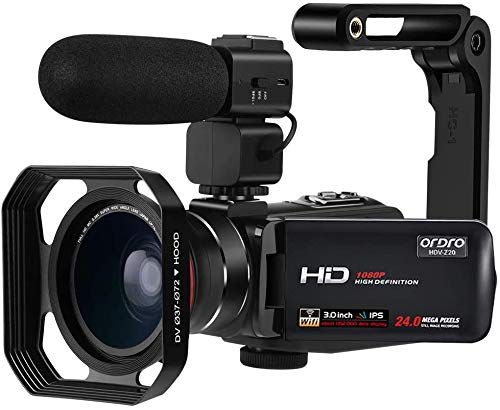 ORDRO Videocámara Full HD 1080P 30FPS 24MP 3.0