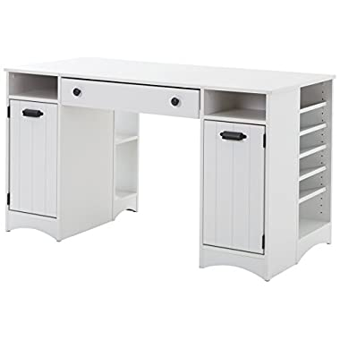 South Shore Artwork Craft Table with Storage - Large Work Surface - Multiple Storage Spaces - Pure White by