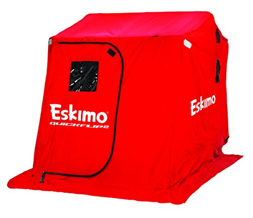 Eskimo 15400 QuickFlip 2 Portable Flip Style Ice Fishing Shelter with 60' Sled and Versa Top Mounted Chairs, 2 Person