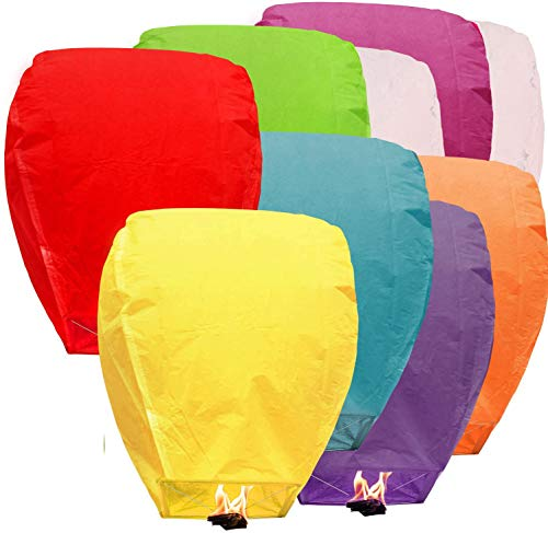 BATTIFE Paper Lanterns Chinese Biodegradable Lantern Bulk Assortment Romantic Night Blue Red and Other Mixed Colors for Party Sea Beach Vacation Holiday 10 Pack
