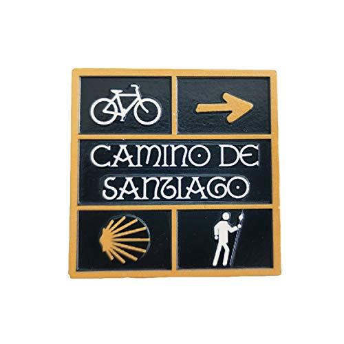 Camino De Santiago 3D-Straßenschild Kühlschrankmagnet aus Kunstharz, Reise-Souvenirs, handgefertigt, Heim- & Küchendekoration, Spanien-Kühlschrankmagnet, Sammlung, Geschenk