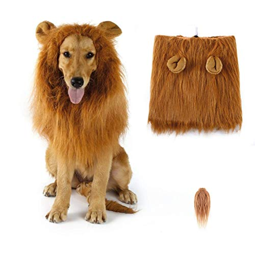 SUNREEK Dog Lion Mane, Lion Mane Wig Costumes for Medium to Large Sized Dog with Ears & Tail, Fancy Lion Hair for Halloween Costume Holiday Photo Shoots Party Festival Occasion
