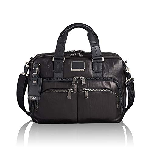 TUMI Men's Alpha Bravo Albany Slim Commuter Brief Briefcase, Black - Leather, 14 Inch Computer Bag Women