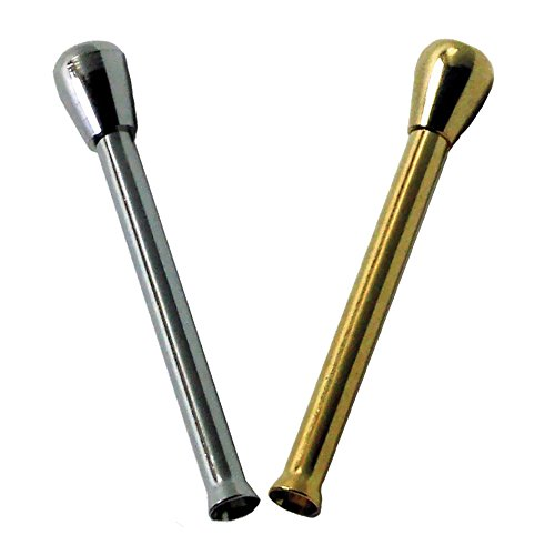 2x Zieh-Röhrchen mit Knopf aus Metall silber / gold 65mm Snuff Snort