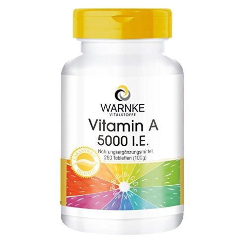 Vitamina A 5000 U.I. – Acetato de Retinilo – Vegana – 250 comprimidos