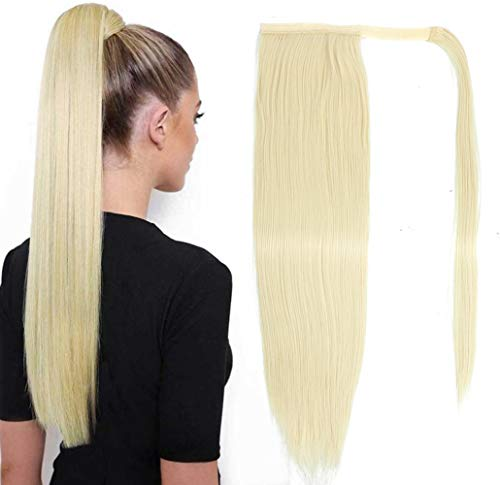 XCCOCO Long Silk Straight Ponytail Hair Extensions Wrap Around Heat Resistant Synthetic Hair Pieces with Clip Magic Paste Ponytail Blonde Color 20inch