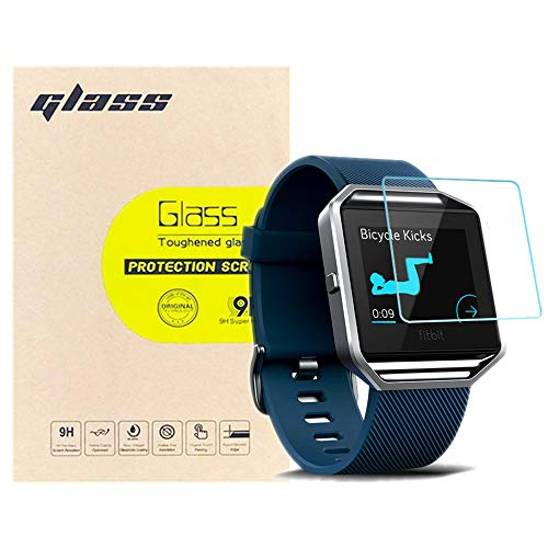 (3-Pack) LUPAPA for Fitbit Blaze Screen Protector, 9H Hardness 99.9% High Definition Tempered Glass Protective Film for Fitbit Blaze Smartwatch [Anti-Scratch, Bubble Free, Full Coverage]