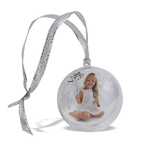 Annastore 4 x Foto-Weihnachtskugeln zum selbst gestalten mit Band zum Hängen Ø 8 cm - Weihnachtskugel für Foto