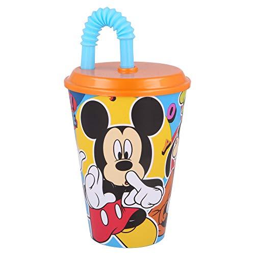 MICKEY MOUSE   Vaso Reutilizable con Tapa y Pajita para niños  Vaso infantil de plástico - 430 ml- sin BPA