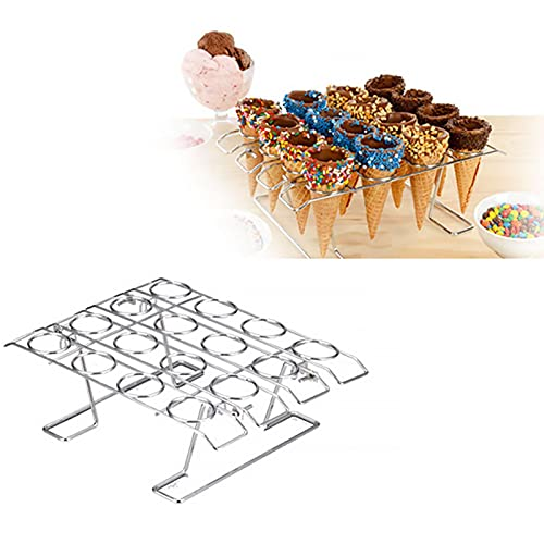 Cupcake Cones Baking Rack, 16-Cavity Stainless Steel Ice Cream Cone Stand Holder Foldable Cake Decorating Pastry Tray Waffle Cones Holder for Baking, Cooling, Display(Silver)