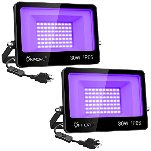 Onforu 2 Pack 30W LED Black Lights, Blacklight Flood Light with Plug, IP66 Waterproof, for Dance Party, Glow in The Dark, Stage Lighting, Aquarium, Body Paint, Fluorescent Poster, Neon Glow