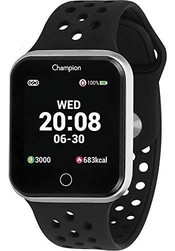 Relógio Smartwatch Champion Bluetooth 4.0 Prata Pulseira Preta CH50006T