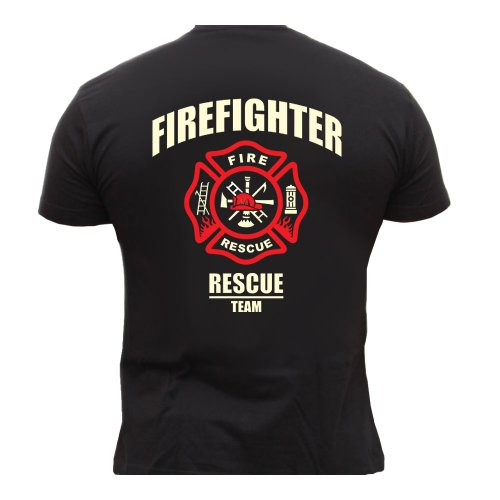 Rescue Point Firefighter Fireman camiseta hombre T-shirt KF8B (L)