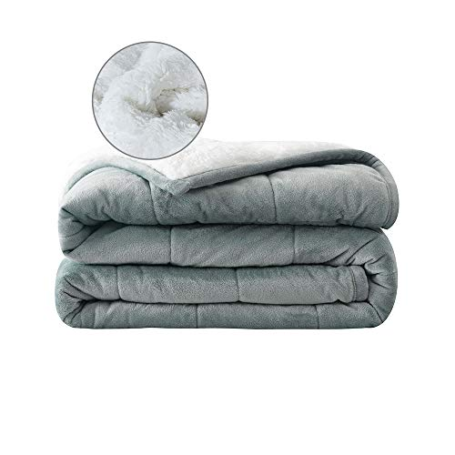 """Syrinx Adult Weighted Blanket 15 Pounds (60""""x80"""",Queen Size,Dark Grey/White) Soft Fleece Weighted Blanket with Glass Beads"""