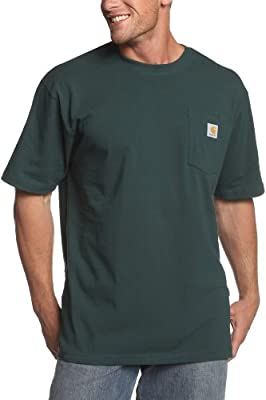 Carhartt Men's K87 Workwear Short Sleeve T-Shirt (Regular and Big & Tall Sizes), Hunter Green, X-Large