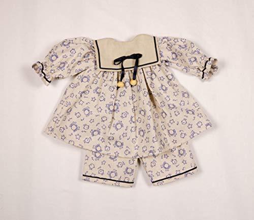 Poppenmode Storm 2790-3 baby-jurk met broek (linnen) voor poppen, wit