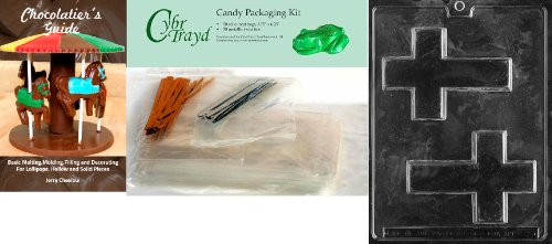 Best Prices! Cybrtrayd Cross Chocolate Candy Mold with Chocolatier's Bundle, Includes 50 Cello Bags,...