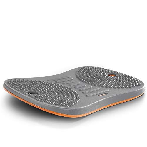 Stehpult Anti-Müdigkeitsmatte - FEZIBO Holz Wackelbrett Balance Board Stabilitätswippe mit ergonomischem Design Komfort Bodenmatte Altostratus Grau