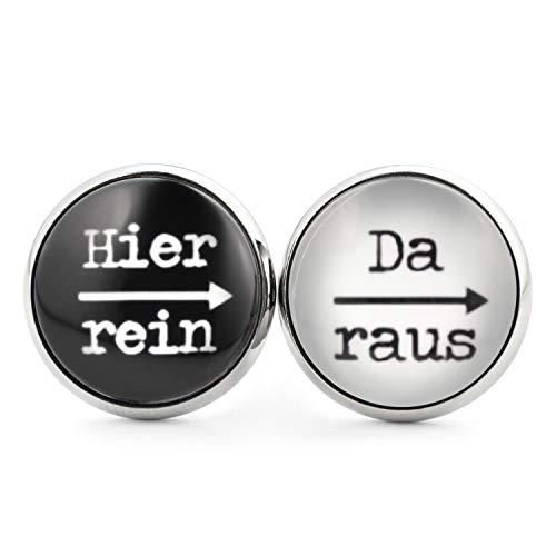 SCHMUCKZUCKER Damen Herren Unisex Ohrstecker mit Spruch Hier rein - da raus Lustige Edelstahl Ohrringe Silber Schwarz & Weiß 14mm