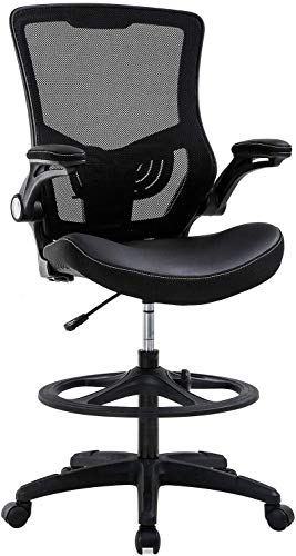 Drafting Adjustable Height Chair with Rest Back Support, Ergonomic Tall Office Chair with Flip Up Arms Foot, Adjustable Height Mesh Drafting Stool for Standing Desk (Black)