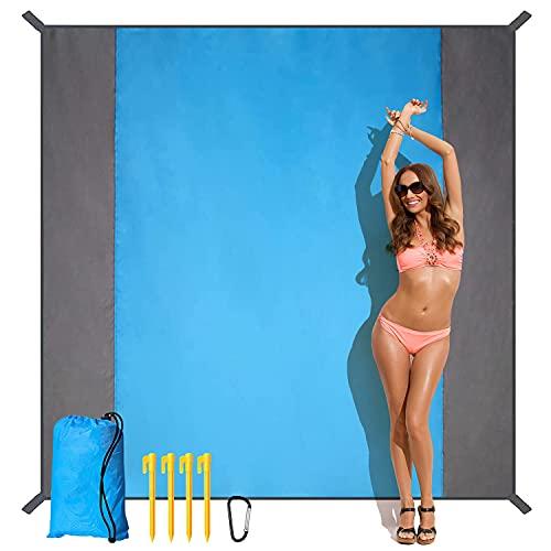 HUHUDAY Coperta da Spiaggia, Antisabbia Stuoia Spiaggia, 210x200cm Sabbia Impermeabile Portatile Coperta da Picnic con 4 Picchetti Fixed per Picnic, Spiaggia, Campeggio, per 4-5 Adulti